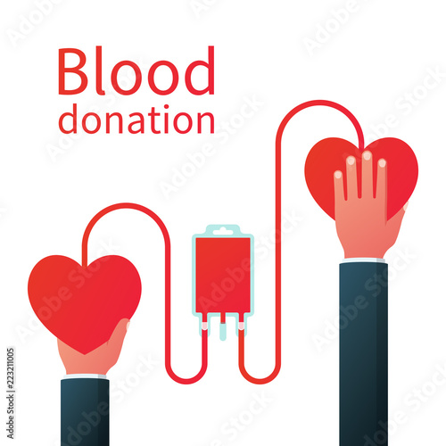blood donation concept two hearts are connected by drop counter