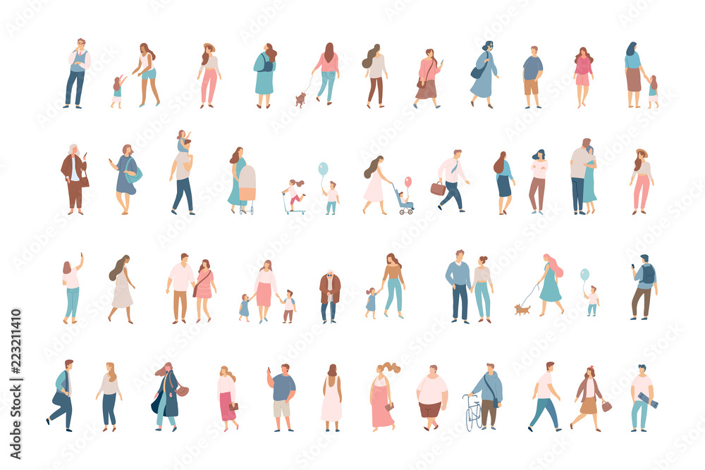 Fototapeta Crowd. Different People vector set3. Male and female flat characters isolated on white background.