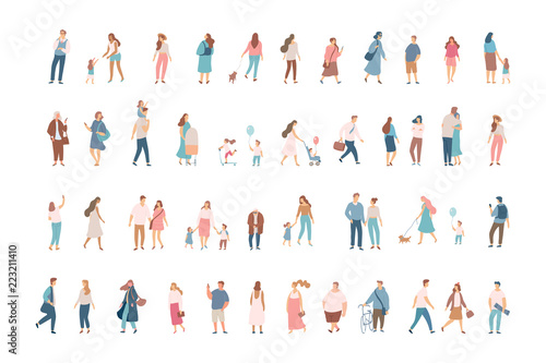 Fototapeta Crowd. Different People vector set3. Male and female flat characters isolated on white background. obraz