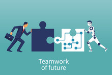 Businessmen And Robot Connecting Puzzle Elements. Vector Illustration Flat Style Design. Combining Two Pieces. Symbol Of Working Together Cooperation Partnership. Business Concept. Teamwork Metaphor.
