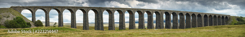 Stickers pour porte Europe du Nord Panorama of Ribblehead Viaduct carrying the Settle to Carlisle railway line across the Ribble Valley, Yorkshire Dales,UK.