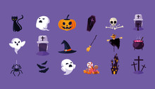 Halloween Card With Set Charac...