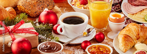 Obraz Tasty fresh Christmas Intercontinental breakfast - fototapety do salonu