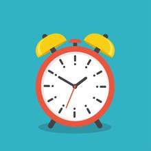 Alarm Clock Icon. Flat Style - Stock Vector.