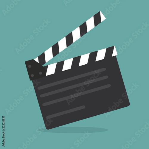 Fényképezés Clapper board icon. Flat style - stock vector.