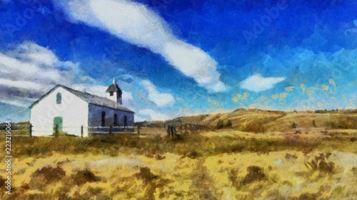 Poster Donkerblauw Oil painting. Art print for wall decor. Acrylic artwork. Big size poster. Watercolor drawing. Modern style fine art. Beautiful landscape. Church in field.