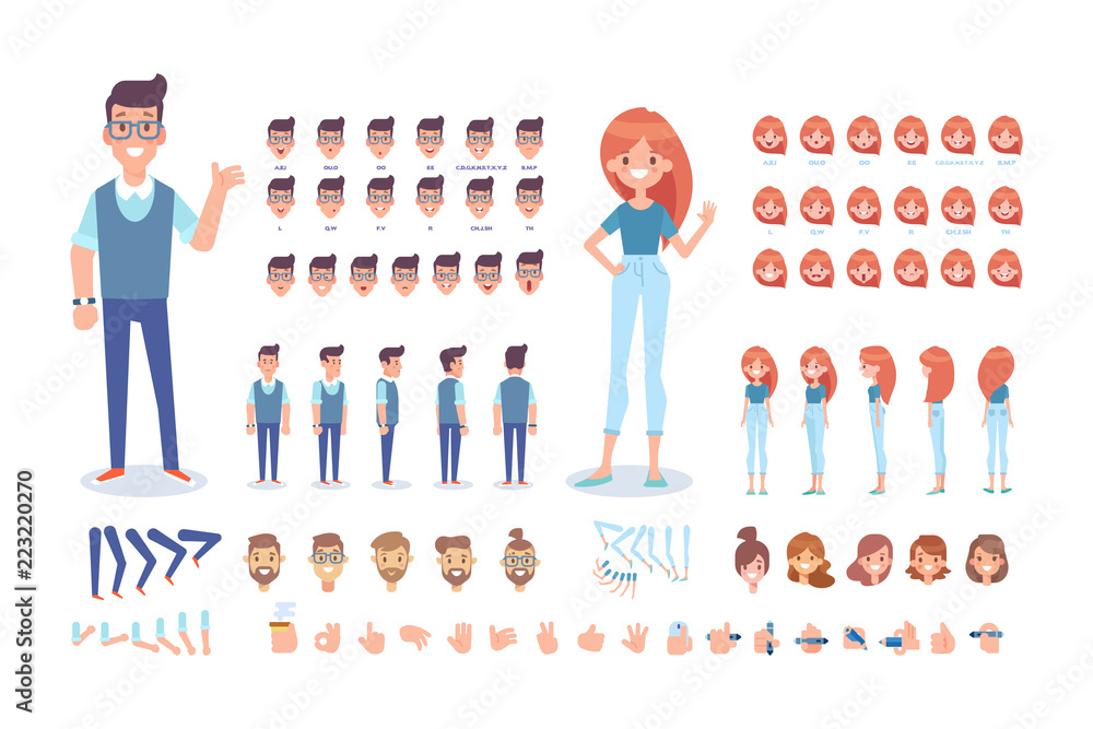Fototapeta Front, side, back, 3/4 view animated characters. Young people creation set with various views, hairstyles and gestures. Cartoon style, flat vector illustration.