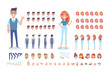 Front, side, back, 3/4 view animated characters. Young people creation set with various views, hairstyles and gestures. Cartoon style, flat vector illustration.