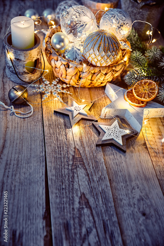 Fotografie, Obraz  Christmas decoration for tree New year greeting card at old