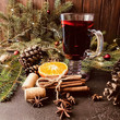 Aromatic mulled wine square background