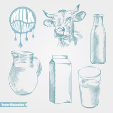 Hand Drawn Set With Cow And Milk Products. Bottle And Glass With Fresh Milk Sketches. Dairy Products Vector Illustration. Great For Poster, Banner, Voucher, Coupon.