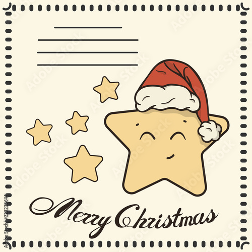 Photographie  Christmas post card with cute star in Santa's hat and congratulation Merry Christmas calligraphy