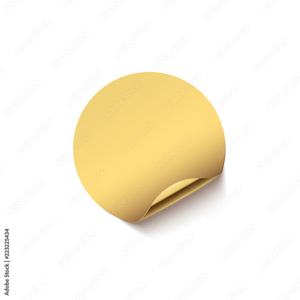 Fototapeta Golden sticker with curved edge isolated on white background. Vector design element.