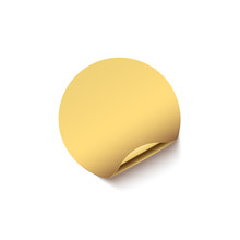 Golden Sticker With Curved Edg...