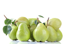 A Lot Of Ripe Fresh Pears With...