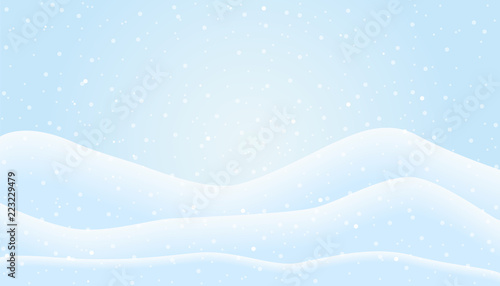Fotobehang Lichtblauw Flat design illustration of winter mountain landscape with snowfall and hills under blue sky