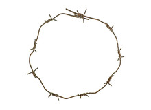 Barbed Wire Circle Isolated On White Background. Rusty Wire.