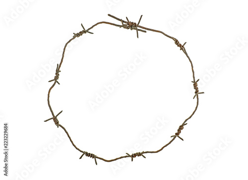 Pinturas sobre lienzo  Barbed wire circle isolated on white background. Rusty wire.
