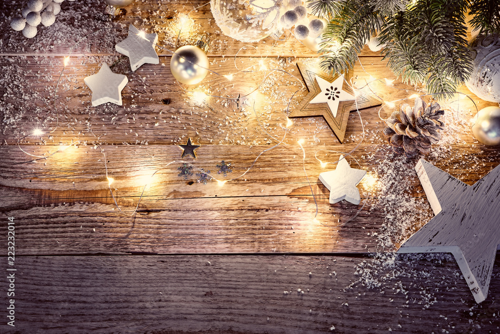 Fototapeta Christmas decoration in vintage style at old wooden board