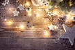 canvas print picture - Christmas decoration in vintage style at old wooden board