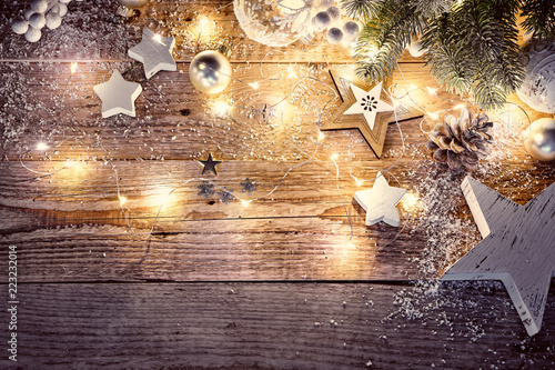 Obraz Christmas decoration in vintage style at old wooden board - fototapety do salonu
