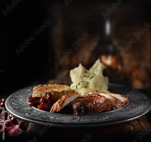 Tuinposter Buffet, Bar Roast Pork Meal
