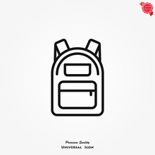 Backpack Icon, Vector High Quality Logo For Web Design And Mobile Apps