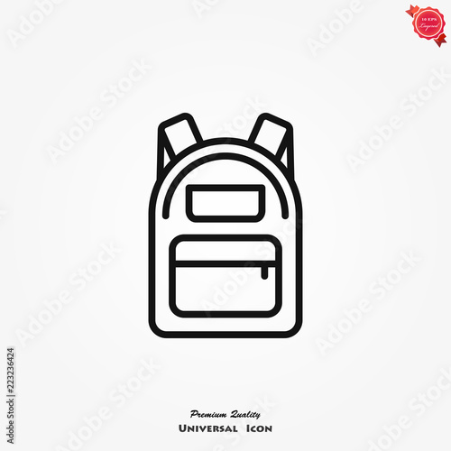 Photo Backpack icon, vector high quality logo for web design and mobile apps