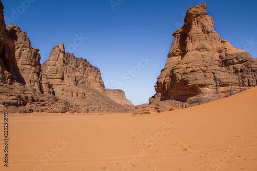 Amazing rock formation in Tadrart Rouge. Tassili n'Ajjer National Park, Algeria