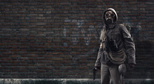 Brave Post Apocalyptic Survivor With Gas Mask