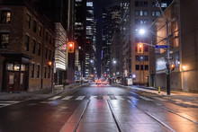 Night View Of The Street Of Toronto