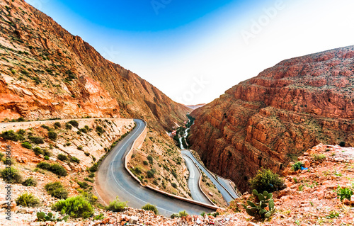 Tuinposter Marokko View on narrow street in Gorges du Dades in Morocco