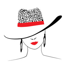 Woman In Hat With Leopard Prin...