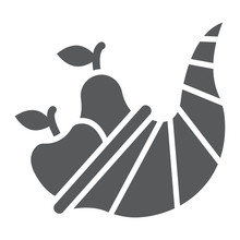 Cornucopia Glyph Icon, Harvest And Food, Basket Sign, Vector Graphics, A Solid Pattern On A White Background.