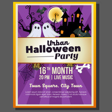 Urban Halloween Theme Party Poster Template With Ghost