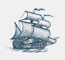 Vintage Sailing Ship. Seafarin...