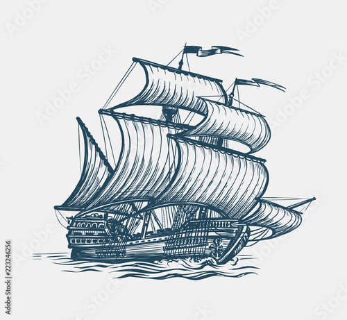 Fotobehang Schip Vintage sailing ship. Seafaring, sailer concept. Sketch vector illustration