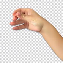 Realistic Hand Of Man Holds Presumed Glass Of Alcoholic Beverage On Transparent Background. Vector Illustration