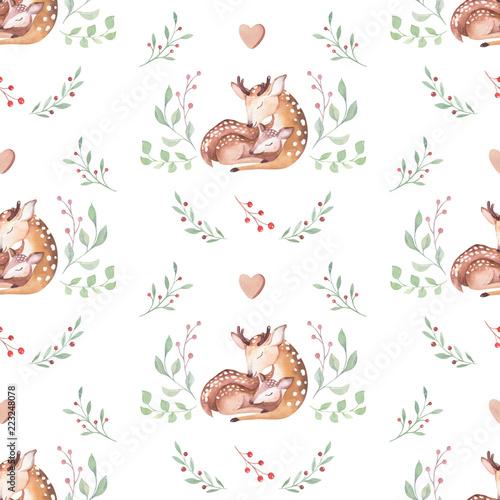 Naklejka premium Ładny akwarela baby jelenia zwierzę bez szwu wzór, przedszkola ilustracja na białym tle odzież dla dzieci, wzory. Obraz boho z ręcznie rysowanym akwarelą Idealny do projektowania etui na telefony, plakatów przedszkolnych