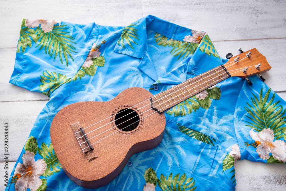 Fototapeta ulkulele and hawaiian shirts