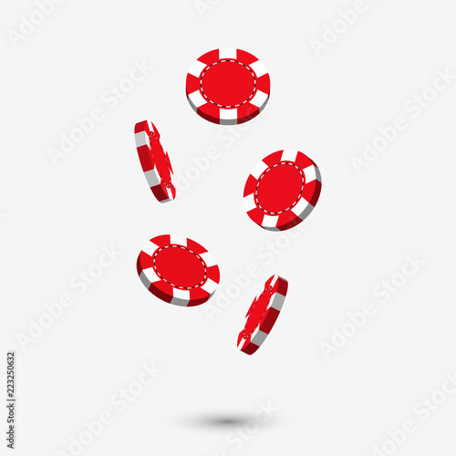Falling Red Casino Chips In 3d Style Design With Shadow Isolated On White Background Gaming Illustration Buy This Stock Vector And Explore Similar Vectors At Adobe Stock Adobe Stock