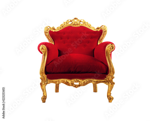 Photo Red and gold luxury armchair isolated on white background