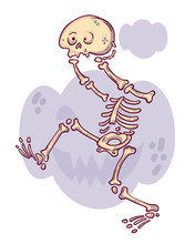 Cartoon Character. Funny Headless Skeleton With Skull In His Hands. Scary Pumpkin Background