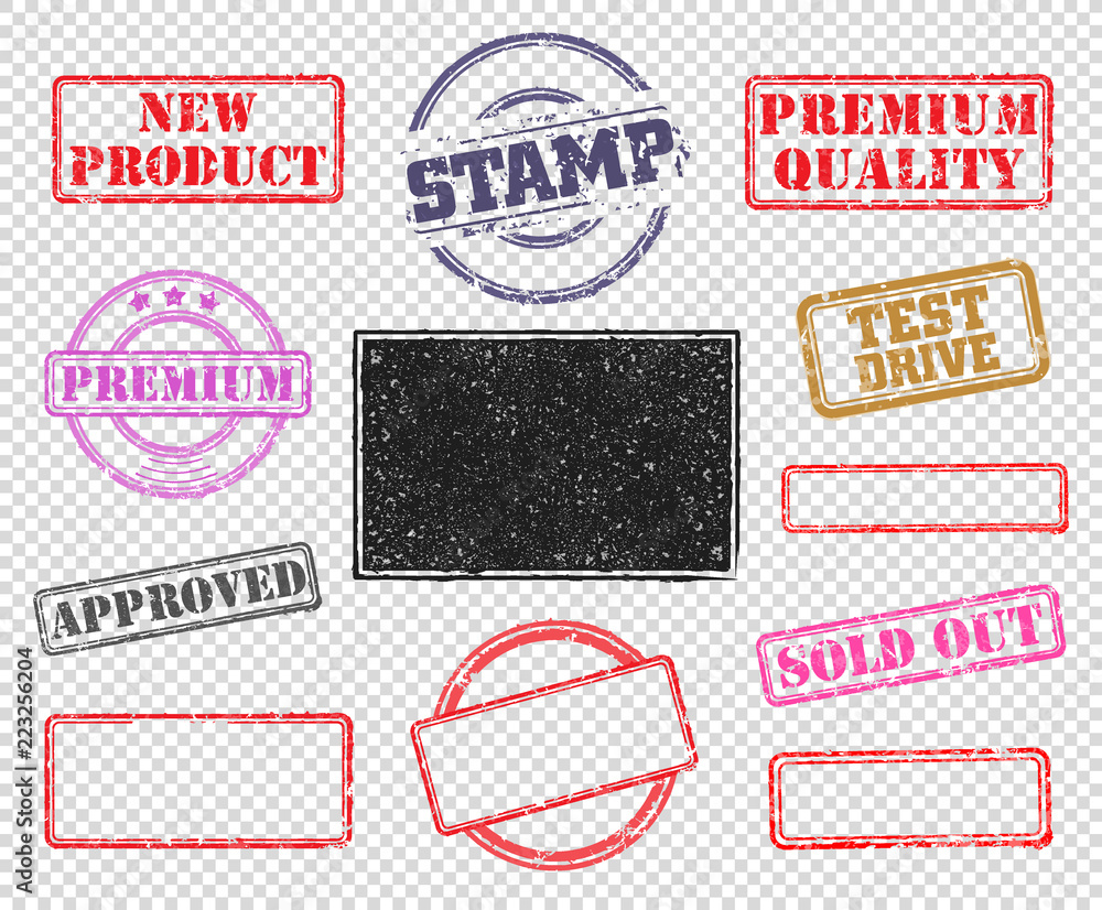 Fototapety, obrazy: Big set of rubber stamps. Vector illustration for use on opacity background