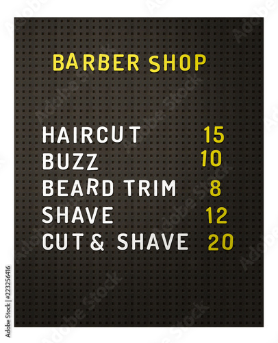 Fotografie, Obraz  Isolated Barber Shop Prices