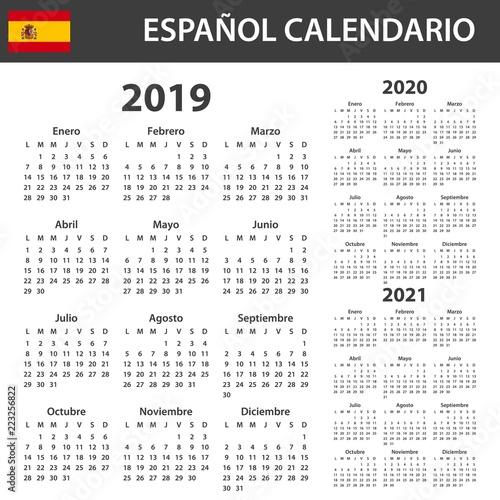 Fotografia  Spanish Calendar for 2019, 2020 and 2021