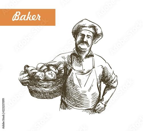 Stampa su Tela vintage illustration of a Baker with basket