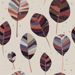 Panel Szklany Minimalistyczny Autumn leaves on a beige background. Vector illustration. Children's pattern. Floral seamless pattern for printing, fabric, textile, manufacturing, wallpapers.