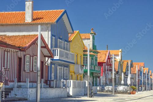 Typical facades in Costa Nova (Aveiro, Portugal)
