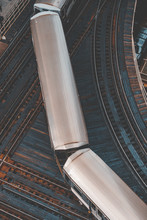 Overhead View Of Trains Passing On Railway Track